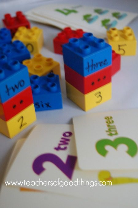 legos and number cards